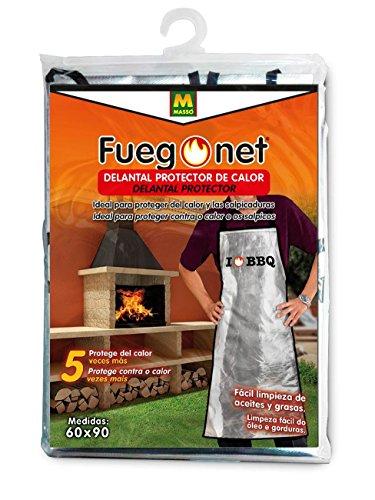 FuegoNet - MOD. 231457–Grembiule di Protezione Anti-Calore, Dimensione: 21x 33x 2cm, Colore: Argento