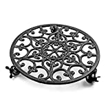 Skelang 14.6' Cast Iron Plant Caddy, Wrought Iron Wheeled Plant Stand for Moving Heavy Duty Potted Planter, Plant Saucer, Indoor Planter