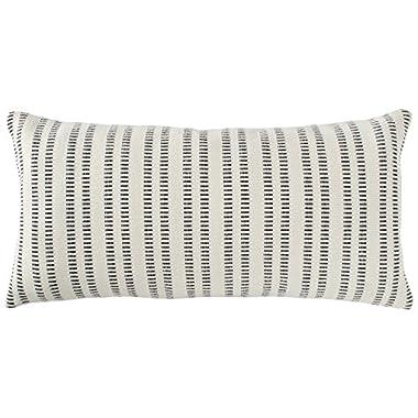 Stone & Beam French Laundry Stripe Pillow, 12  x 24 , Ivory, Black