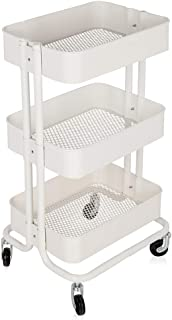 Zozobra 3 Tier Rolling Metal Shelving Utility Storage Cart with Wheels, Organizer Trolley (White)