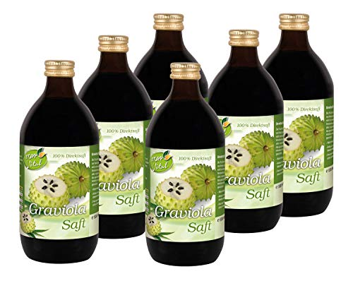 Kopp Vital Graviola-Saft | Direktsaft aus Handsammlung | 6 x 500 ml | Naturtrüber Direktsaft | Naturprodukt | frei von künstlichen Konservierungsstoffen | ohne Zuckerzusatz | keine Farbstoffe