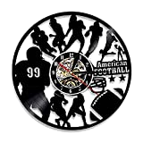 AIYOUBU Américain Foot Team Vinyle Record Horloge Rugby Sportifs Mur Art Jeu Décoratif Sport Joueur Garçons Cadeau-with_LED
