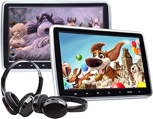 2021 Newest Headrest DVD Player Car DVD Player 10.1'' Dual Car DVD Players with 2 Headphones Eonon C1100A for Kids Support Same/Different Video Playing/AV Out & in HDMI USB SD Port Touch Button.