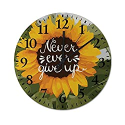 TattyaKoushi Fashion Wooden Wall Clocks Home Decor Sunflower Quote Never Give Up Silent & Non-Ticking Rustic Country for Living Room,Bedroom,Kitchen,Office Round 10x10 Inch