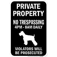 PRIVATE PROPERTY ブラックマグネットサイン:シュナウザー シルエット 英語 私有地 無断立入禁止