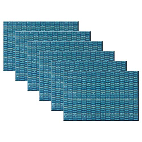 Bright Dream Placemats for Dining Table Washable Easy to Clean PVC Placemat Heat-resistand Woven Vinyl Table Mats (6, Sequins Blue)