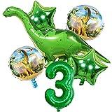 DIWULI, Gran Juego de Globos de Dinosaurios, 1x Globo Gigante de Dinosaurios + XL número 3 número de Globo Verde + 2X Globo de Estrellas + 2X Globo de Papel de Aluminio 3º cumpleaños del niño