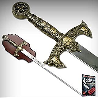 """NEW! 47"""" Knights Templar Medieval Sword Antique Gold Handle with Display Plaque + free eBook by ProTactical`US"""