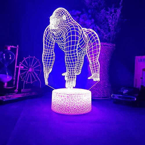 Gorilla 3D Acryl Led 16 Farbe Nachtlicht Home Decor Schlafzimmer Kunst Lampe Beleuchtung Illusion Tier Nachtlichter Für Kinderzimmer