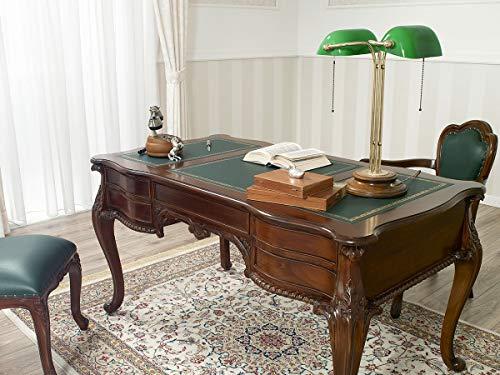 SIMONE GUARRACINO LUXURY DESIGN Schreibtisch Diana Chippendale Stil cm 150 walnuss Kunstleder grün