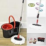 CALITEK 360° Spin Mop & Bucket Floor Cleaner, Adjustable Handle & 2 Mop