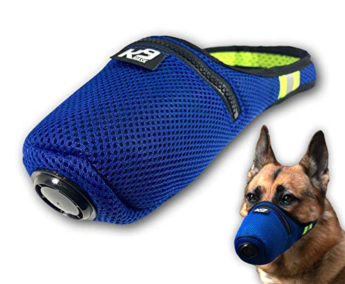 K9 Mask Air Filter Mask for Dogs with 'Clean Breathe' Premium Air Filter Refills - Blue (Small)