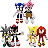 27cm/11 Sonic Plush Set, 6 Pcs Classic Sonic/Silver The Hedgehog/Shadow The Hedgehog/Knuckles The Echidna/Miles Prower/Amy Rose Plush Doll for Sonic Fans (6pcs/Set)