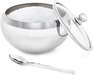 Sugar Bowl, Glass With Clear Lid and Spoon, Holds 2 cups of Sugar