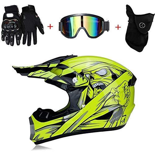 Casco de Descenso Amarillo Cascos de Moto Integrales para Adultos Regalos Gafas máscara Guantes Casco Moto Integral BMX MX ATV DH Carrera en Bicicleta de Cara Completa Casco Integral,XL