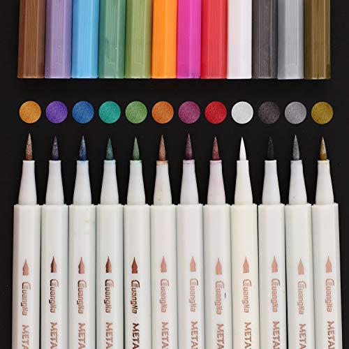 Guangna Metallic Calligraphy Marker Pens 12 Assorted Colors Soft Brush Tip Metallic Calligraphy Painting Pens for Scrapbook DIY Photo Album, Rock Painting, Card Making, Metal and Ceramics