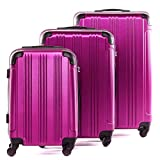 FERGÉ Kofferset Hartschale 3-teilig QUÉBEC Trolley-Set - Handgepäck 55 cm L XL - 3er Hartschalenkoffer Roll-Koffer 4 Rollen 100% ABS pink