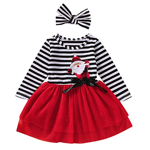 GRNSHTS Toddler Girls Christmas Outfits Baby Santa Claus Striped Long Sleeve Dress Tutu Skirt Playwear with Headband (Santa Red, 5-6 Years)