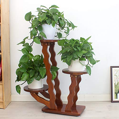 Decorative Wavy Solid Wood 3 Tier Plant Stand