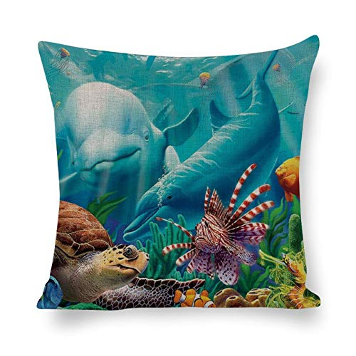Tiukiu 18 X 18 Inch Cotton Linen Square Throw Pillow Case Cushion Covers, Bed Sofa Couch Car Home Decor, Life Under Sea