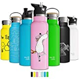 Double Walled Vacuum Insulated Water Bottle with Straw Lid & Sports Cap, Simple Kids Stainless Steel Thermo Flask, Metal BPA Free Eco Friendly Non Sweat Modern Finish Hydro Mug 12oz 17oz 20oz 25oz (17 oz, Kiwi)