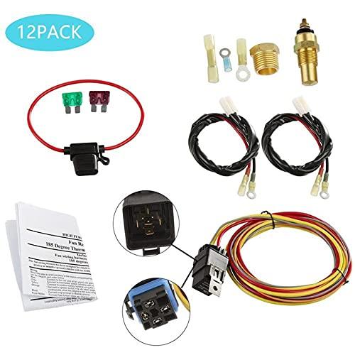 TAHMM 12 unids Kit de arnés de Alambre de Alambre de Alambre de Doble eléctrico 185 en 165 Apagado Termostato 50 AMP Relé Automóvil Accesorios de reemplazo (Color : Black)