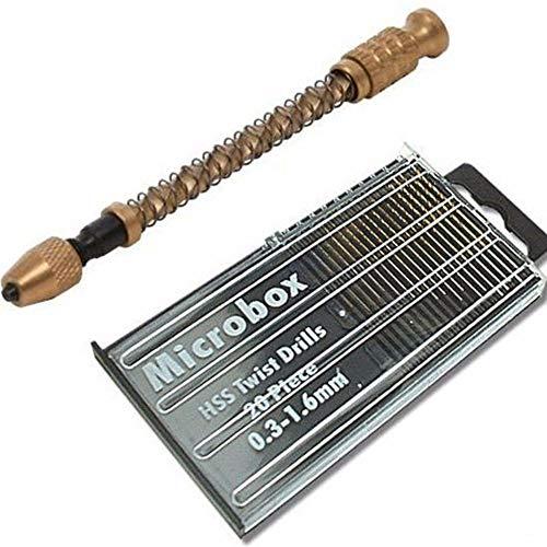 Archimedes Spiralbohrer + 20 HSS-Mikro-Bits für Uhren, Schmuck, Modellbau