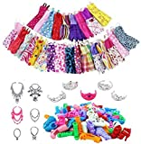 ROOYA Lot de 46 vêtements et Accessoires pour poupée Barbie avec Robes décontractées, Bracelet, Couronne, Boucles d'oreilles, Bandeaux, Miroir, Cintre pour Filles,Cadeau de Vacances