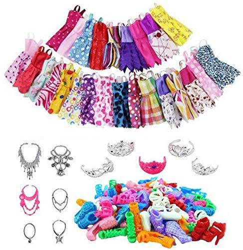 Hinder Juego de 46 piezas de ropa de muñeca, ropa de muñeca, zapatos de seguridad, divertidos accesorios de muñeca para niñas