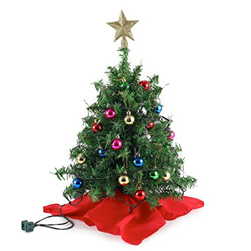 """20"""" Tabletop Mini Christmas Tree Set with Clear LED Lights, Star Treetop and Ornaments, Best DIY Christmas Decorations"""