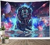 LB 150x130cm Tapiz de Pared León Colgar de Pared Galaxia colorida Tela Pared Constelación Tapices para Sala Dormitorio Decoración Pared