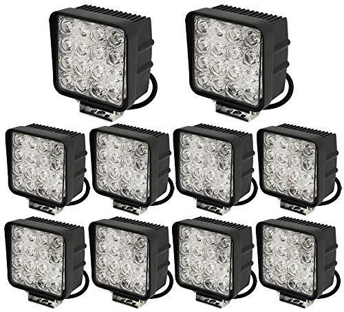 Leetop 10 X 48W Carré LED Offroad Flood SUV Lumière Réflecteur Phare des Travaux Légers,UTV,Phares de Travail ATV Offroad Lampes Supplémentaires Phare 12V 24V Feu de Recul