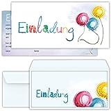 beriluDesign Set: 12 große Einladungskarten mit 12 Umschlägen zum Geburtstag, Kindergeburtstag oder sonstige Feier mit freundlichem Ballon-Motiv | Kinder Geburtstag-Einladungen