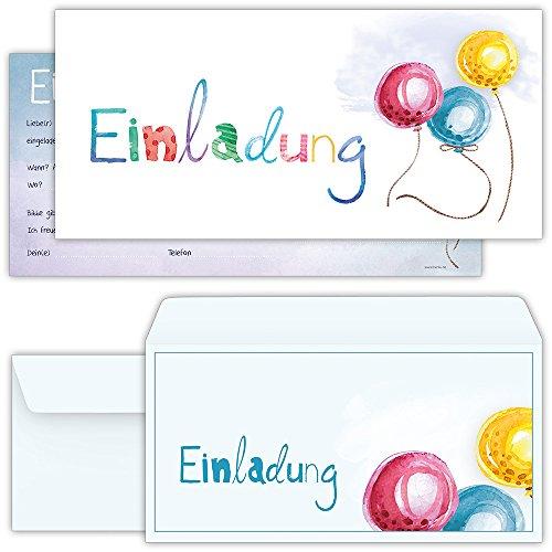 beriluDesign Set: 12 große Einladungskarten mit 12 Umschlägen zum Geburtstag, Kindergeburtstag oder sonstige Feier mit freundlichem Ballon-Motiv   Kinder Geburtstag-Einladungen