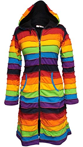 SHOPOHOLIC FASHION Damen Fleece Gefüttert Knielang Regenbogen Lang Hippie Jacke - Regenbogenforelle, Medium