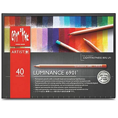 Caran d'Ache Luminance 6901 - Paquete de 40 lápices de colores, multicolor