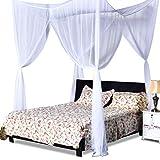 COSTWAY Moskitonetz für Doppelbett, Mückennetz aus Polyester, Bett Fliegennetz, Betthimmel inkl. Haken, Bettdekoration 220 x 200 x 210 cm(Weiß) - 8