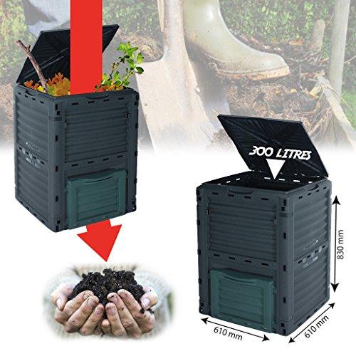 Garden Composter 300L Compost Bin Grass Eco Friendly Rubbish Waste Converter