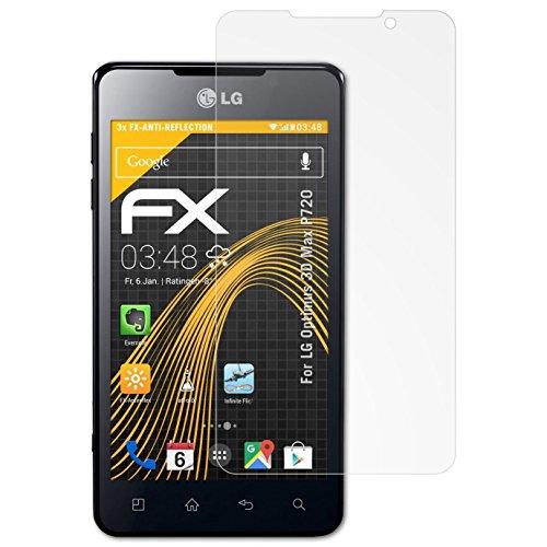atFolix Panzerfolie kompatibel mit LG Optimus 3D Max P720 Schutzfolie, entspiegelnde und stoßdämpfende FX Folie (3X)