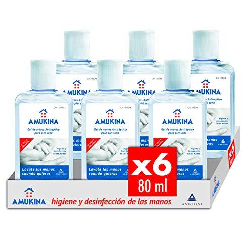 AMUKINA - Gel Hidroalcoholico - 6 x 80ml - Higiene de Manos en profundidad sin agua