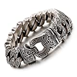 yabeme vichingo vintage totem acciaio inossidabile fatto a mano bracciale a catena a maglia cubana trend punk biker grande regalo di gioielli anello a molla chiusura 8,6 pollici