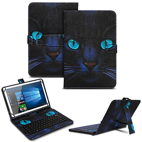 NAUC Tablet Case Compatible with Lenovo Tab M10 Keyboard USB Case Keyboard QWERTZ Keyboard Protective Case Stand Function Magnetic Closure Cover Universal Colours Design 4