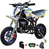 X-PRO Cyclone 40cc Kids Dirt Bike Mini Pit Bike Dirt Bikes Motorcycle Gas Power Bike Off Road with Gloves, Googles and Face Mask(Blue)