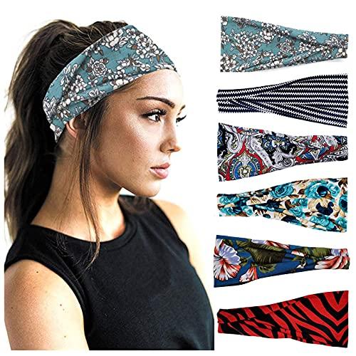 6 unidades de cinta para el pelo para mujer, elástica, bonita cinta para el pelo, ajustable, ancha, para el día a día, yoga, deporte, fitness