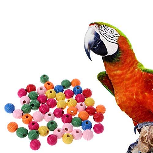 CADANIA Juguete para pájaros, 50 Piezas/Bolsa Juguete para mordedura de Loro de pájaro de Madera Multipropósito Colorido Cuentas de Bricolaje Accesorios de decoración