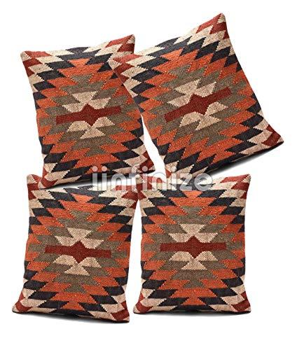 iinfinize Funda de almohada cuadrada hecha a mano para sofá Kilim, almohada de lana de yute, funda de almohada vintage Kilim, funda de cojín decorativa para cama, sofá hippie (Multi 2, 4)
