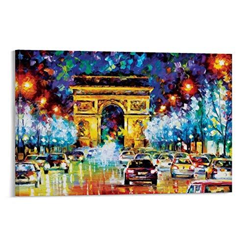 xiaochouyu Póster de Leonid Afremov de Places Europe France Paris - Paris Flight Print de Leonid Afremov Lienzo artístico y arte de pared, diseño moderno de dormitorio familiar de 40 x 60 cm