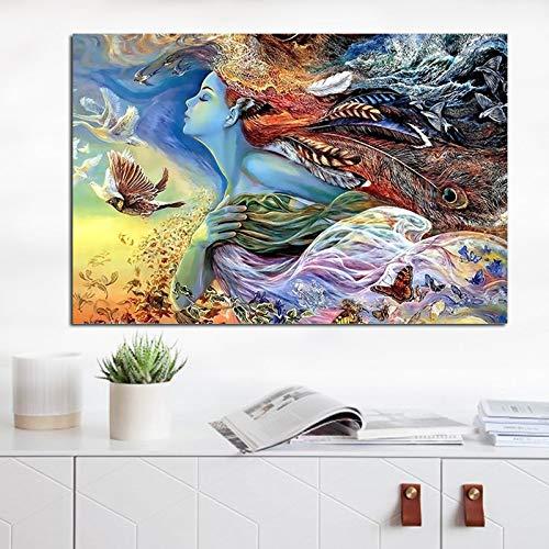 Feather Fly Girl Leinwand Malerei Poster und Drucke Skandinavisches Wandbild für Wohnzimmer Home Decor Ungerahmt