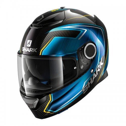 Shark Casco Moto Hark Spartan Carbon Guintoli, Nero/Blu, XS