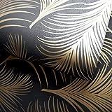 Holden Decor 50082 - Papel pintado, diseño de hojas, color negro y dorado
